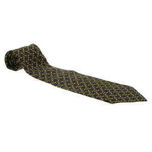 Gucci Navy Blue and Yellow Horsebit Print Silk Tie