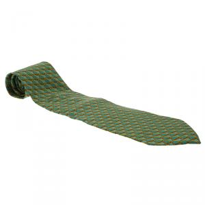Gucci Green and Brown Printed Silk Tie