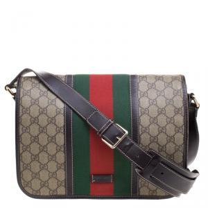 Gucci Beige/Brown GG Supreme Canvas Web Messenger Bag