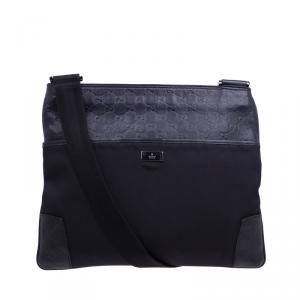 Gucci Black Guccissima Leather/Canvas Flat Messenger Bag