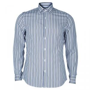 Gucci Men's White and Blue Striped Shirt M
