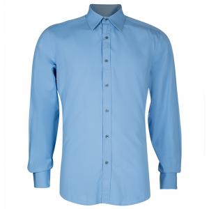 Gucci Men's Blue Cotton Shirt M