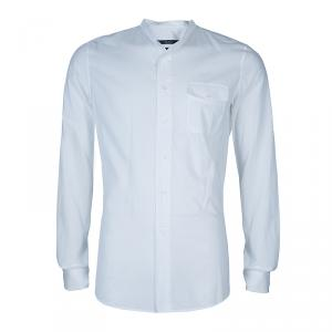 Gucci White Mandarin Collar Cotton Shirt L