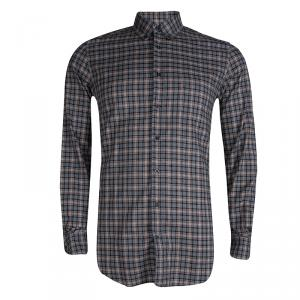 Gucci Grey Cotton Checked Button Front Plaid Shirt M