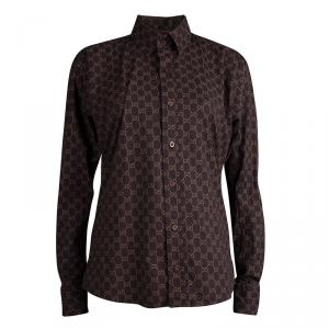 Gucci Brown Printed Cotton Long Sleeve Shirt L