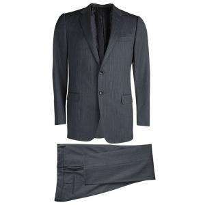Gucci Grey Herringbone Stripe Wool Suit L