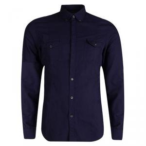 Gucci Navy Blue Cotton Long Sleeve Button Front Skinny Fit Shirt L