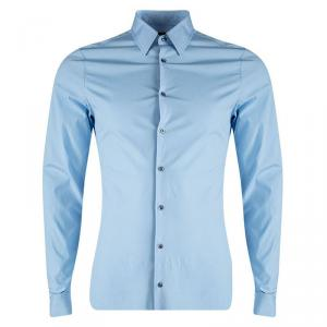 Gucci Blue Cotton Long Sleeve Slim Fit Shirt M/L