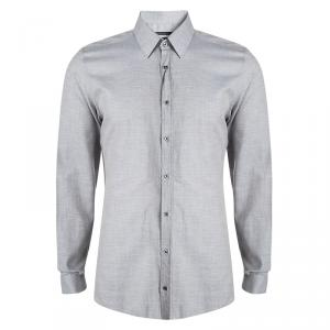 Gucci Grey Long Sleeve Button Front Slim Fit Shirt XL