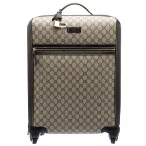 Gucci Beige/Ebony GG Supreme Canvas Medium Four Wheel Carry-On Suitcase