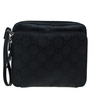 Gucci Black GG Nylon Pouch Bag