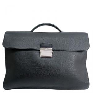 Gucci Black Pebbled Leather Portfolio Briefcase