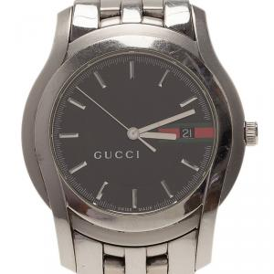 Gucci Black Stainless Steel 5500XL Men's Wristwatch 38MM