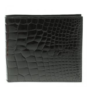 Hermes Black Alligator Bi Fold Wallet