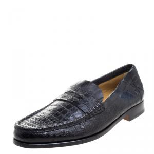 Hermes Black Alligator Leather Loafers Size 44
