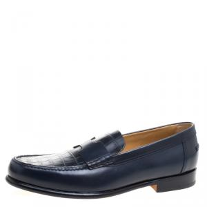 Hermes Dark Blue Alligator Leather Loafers Size 44