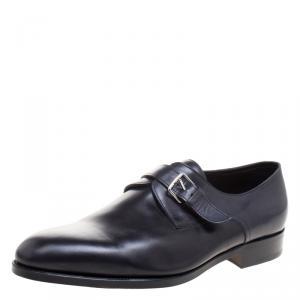 Hermes Black Leather Buckle Derby Size 43.5