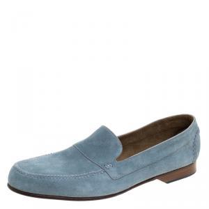 Hermes Slate Blue Suede Keep Moccasins Size 43