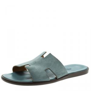 Hermes Teal Suede Izmir Sandals Size 44