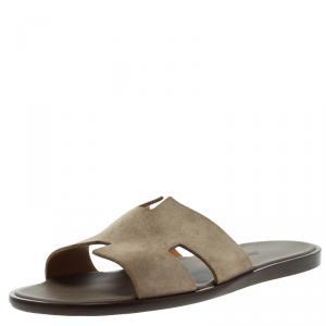 Hermes Light Brown Suede Izmir Sandals Size 43.5