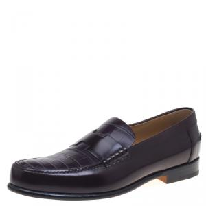 Hermes Dark Brown Croc Leather Loafers Size 44