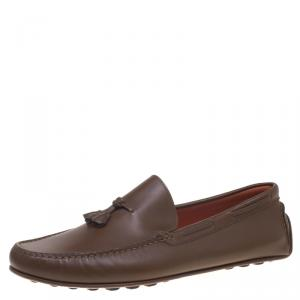 Hermes Brown Leather Leonard Tassel Moccasins Size 44