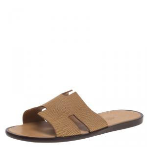 Hermes Honey Brown Lizard Izmir Sandals Size 44