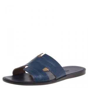 Hermes Indigo Blue Alligator Izmir Sandals Size 44