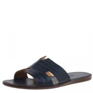 Hermes Denim Blue Alligator Izmir Sandals Size 43.5