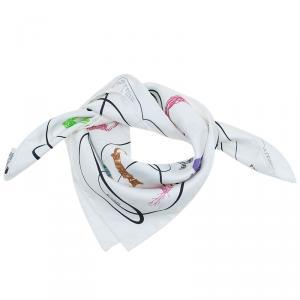 Hermes Multicolor Silk Faune Lettrée Pocket Square
