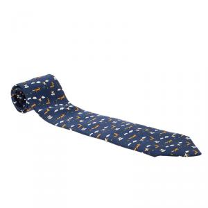 Hermes Navy Blue Wolf, Clouds & Chicken Print Silk Tie