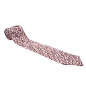 Hermes Red & Grey H Printed Silk Tie