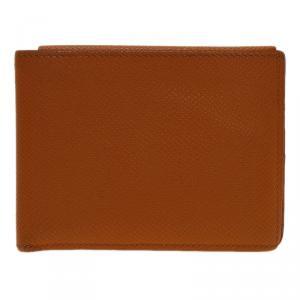 Hermes Orange Leather Bi-Fold Wallet