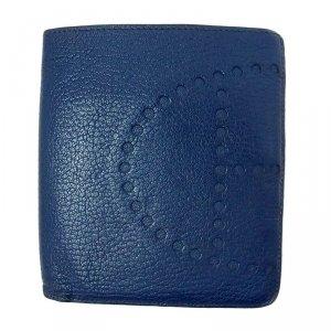 Hermes Blue Leather Logo Bi-Fold Wallet