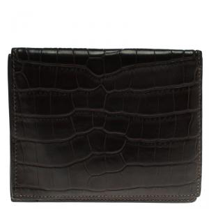 Hermes Dark Brown Alligator Bi Fold Wallet