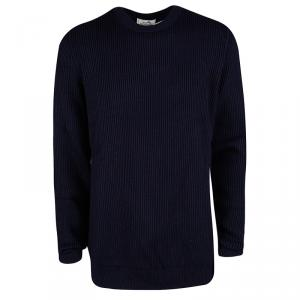 Hermes Navy Blue Chunky Knit Wool Contrast Trim Crew Neck Sweater 3XL