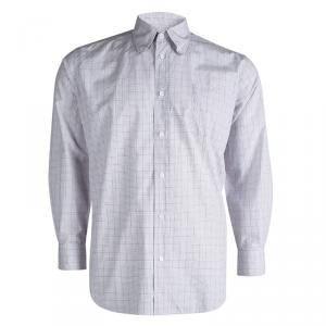Hermes Checked Cotton Long Sleeve Button Down Shirt L