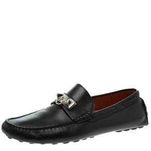 Hermes Black Leather Irving Moccasins Size 43.5