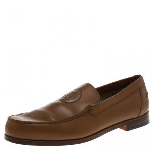 Hermes Brown Leather Lucky Moccasins Size 43