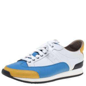 Hermes Multicolor Leather Lace Up Sneakers Size 44