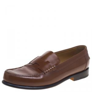 Hermes Brown Leather Kennedy Loafers Size 43