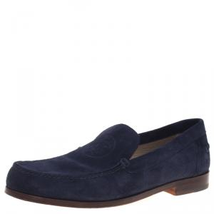 Hermes Navy Blue Suede Lucky Moccasins Size 43