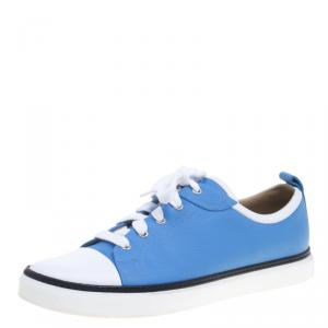 Hermes Two Tone Leather Inside Lace Up Sneakers Size 43.5