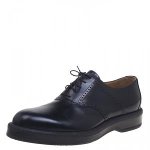 Hermes Black Brogue Leather Oxfords Size 43.5