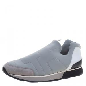 Hermes Grey Fabric Slip On Sneakers Size 43