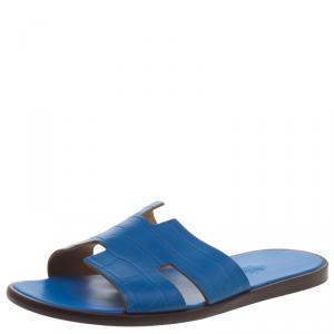 Hermes Cerulean Blue Alligator Izmir Sandals Size 44