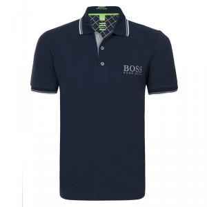 Boss by Hugo Boss Navy Contrast Stripe Cotton Logo Polo Shirt M