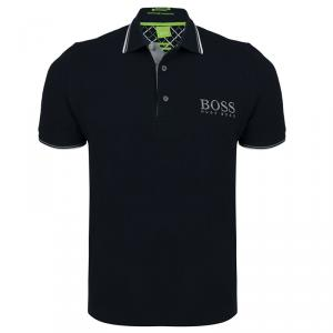 Boss by Hugo Boss Black Contrast Stripe Cotton Logo Polo Shirt S