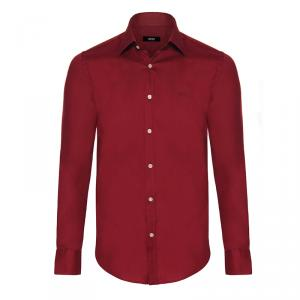 Boss by Hugo Boss Bordeaux Red Long Sleeve Shirt M