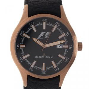 Jacques Lemans Black Gold-Plated Stainless Steel F1 Monza F5035 Men's Wristwatch 40MM